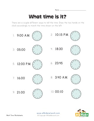 Draw Hands on Clock Worksheet