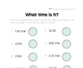 Draw Hands on Clock Worksheet - Advanced