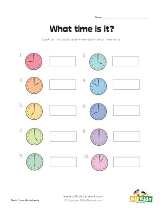 Fill in the Time Worksheet