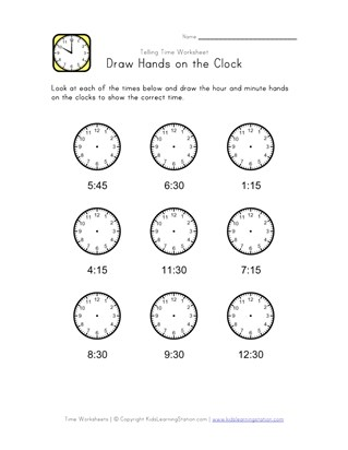 Draw Hands on Clock - 15 Minute Intervals