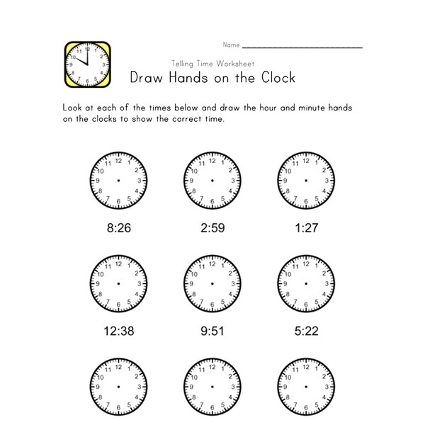 Kids Learn Time Worksheet - One Minute Intervals | All Kids Network