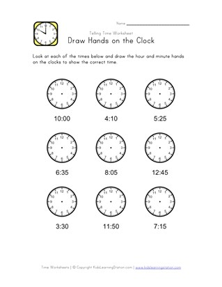 Draw Hands on Clock - Five Minute Intervals