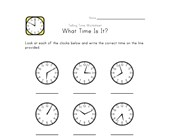 Telling Time Worksheet - 1 Minute Intervals