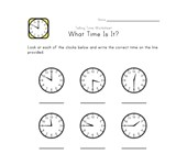 Telling Time Worksheet - 15 Minute Intervals