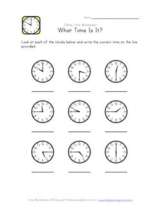 Telling Time Worksheet - 15 Minute Intervals | All Kids Network
