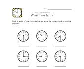 Telling Time Worksheet - 30 Minute Intervals