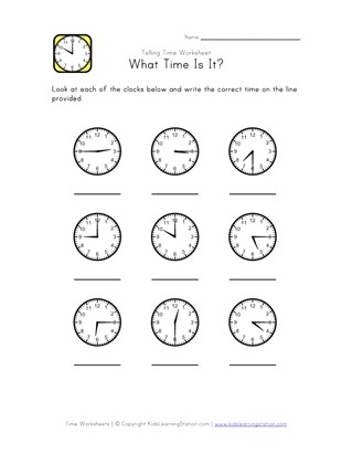 What Time Is It? - 15 Minute Intervals
