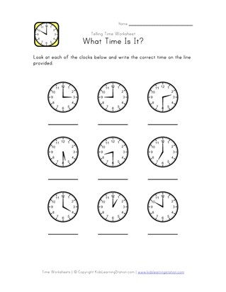 What Time Is It? - 30 Minute Intervals