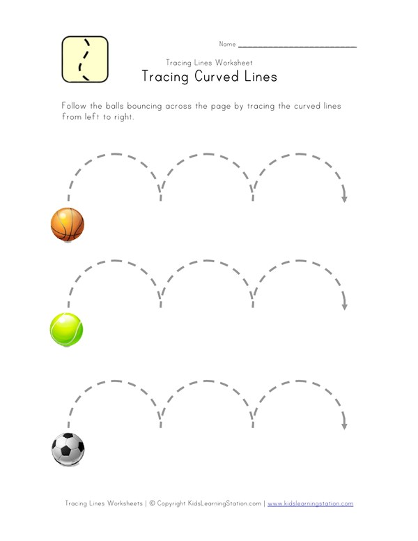 Tracing Curved Lines Worksheet | All Kids Network