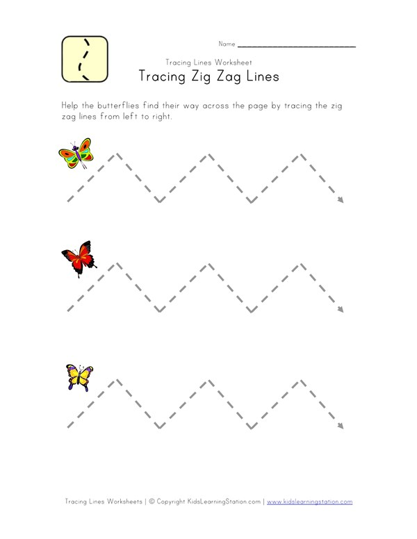 Trace Zig Zag Lines Worksheet | All Kids Network