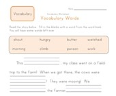 1st grade fill in the blanks vocabulary worksheet