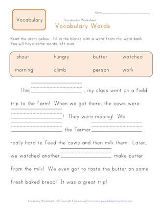 vocab words for 1st graders