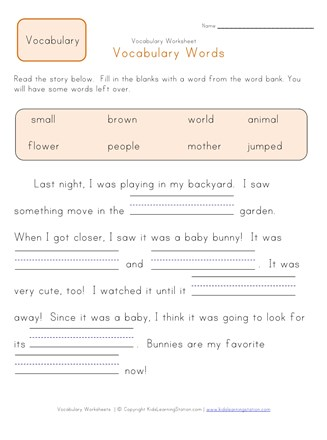 Fill in the Blanks Vocabulary Worksheet 2 | All Kids Network