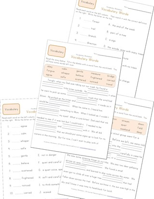 second grade vocabulary worksheets