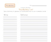 customizable vocabulary word list worksheet