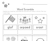 4th of July Word Scramble Worksheet