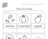 Fall Word Scramble Worksheet