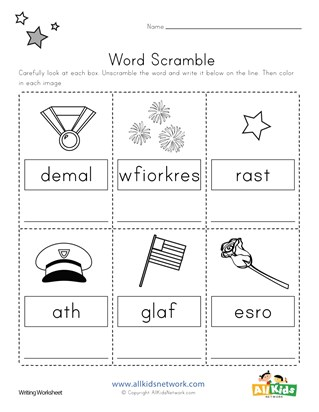 Memorial Day Word Scramble Worksheet