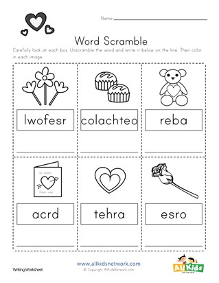 Valentine's Day Word Scramble Worksheet