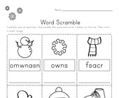 Winter Word Scramble Worksheet