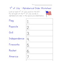 4th of july worksheet alphabetize