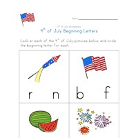 4th of july beginning letters lines worksheet
