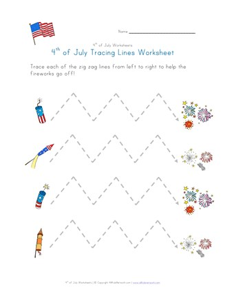 july 4th tracing zig zag lines worksheet