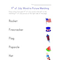 july 4th matching worksheet