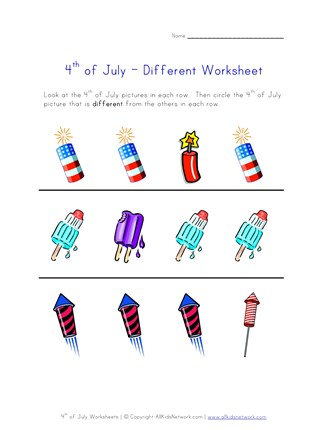 4th of july worksheet different
