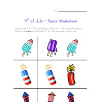 4th of july worksheet same