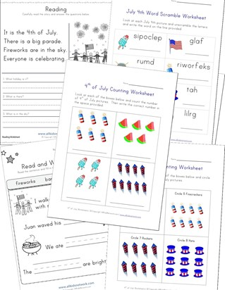 4th of July Worksheets for Kids