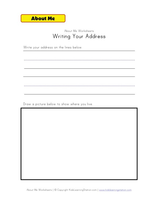 writing your address worksheet all kids network