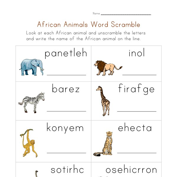 Animals of Africa Word Scramble Worksheet All Kids Network