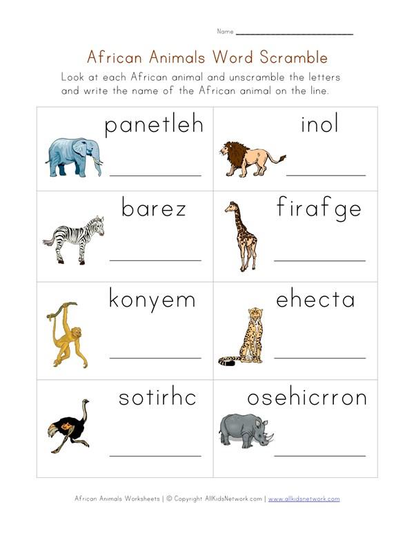 Animals of Africa Word Scramble Worksheet | All Kids Network