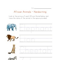 africa animals handwriting worksheet