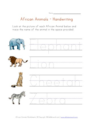 African Animals Themed Handwriting Worksheet | All Kids Network