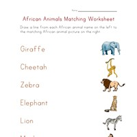 matching worksheet