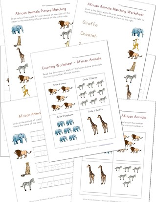 African Animals Worksheets