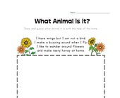 What Animal is it?  Bee Worksheet