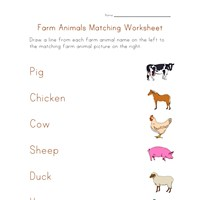 farm animals matching worksheet