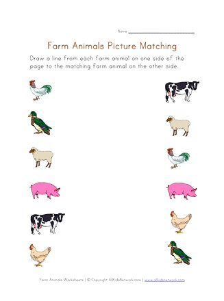 Farm Animals Worksheet Picture Matching All Kids Network