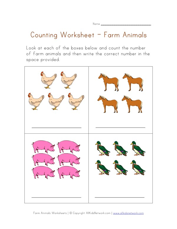 Math Worksheet - Counting Farm Animals | All Kids Network