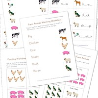 Printable Farm Animals Worksheets for Kids