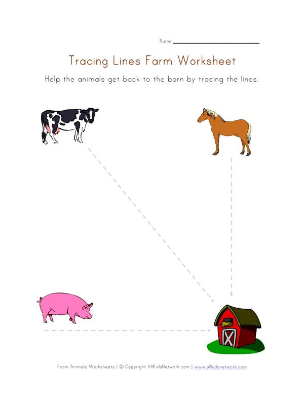 Farm Writing Worksheet Tracing Lines All Kids Network