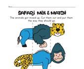 safari animal mix and match worksheet