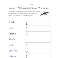 ocean animals worksheet - alpha