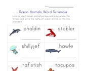 ocean word scramble worksheet
