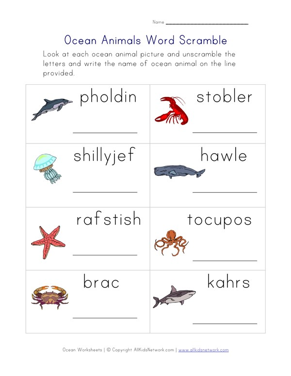 Image of: Sounds Pinterest Ocean Animals Word Scramble Worksheet All Kids Network