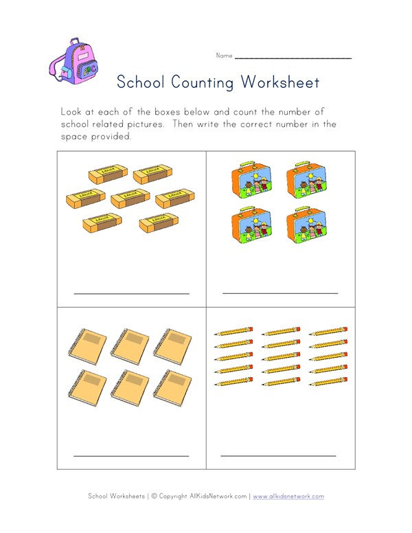 Back to School Counting Practice Worksheet | All Kids Network