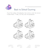 back to school count 4 worksheet